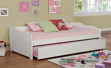 CM1737WH Sunset traditional style low profile style white finish wood day bed with trundle