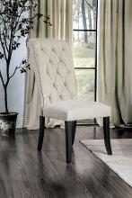 CM3564SC Set of 2 Marshall beige linen like fabric antique black finish wood side chairs