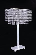 Chrome finish metal and hanging crystals rectangular table lamp