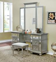 CM7673V 3 pc Salamanca silver finish wood make up bedroom vanity set