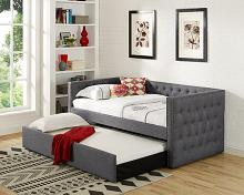 Asia Direct 8613 Suzanne II collection grey tufted linen like fabric upholstered twin size day bed with trundle