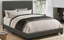 350061Q Muave II charcoal fabric upholstery queen size bed set with nail head trim