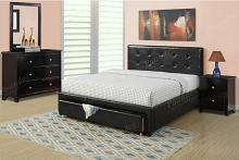 Poundex F9313Q 4 pc patricia ii collection black faux leather upholstered and padded queen bedroom set