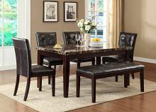 Home Elegance 2544-64 6 pc teague espresso finish wood and faux marble top dining table set with seats