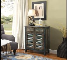 Glancio collection antique oak teal finish wood shutter style console cabinet table