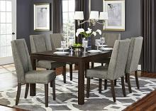 7 pc kavanaugh collection dark brown finish wood dining table set