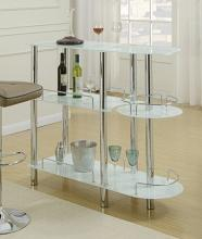 3 tier moderna II collection white glass and chrome metal bar table with glass racks