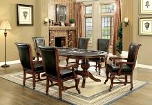 7 pc melina collection bropwn cherry finish wood contemporary style oval poker game/ dining table set
