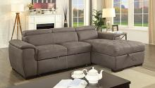 CM6514BR 2 pc Patty ash brown fabric sectional sofa set with pull out sleep area