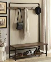 Weatherly collection industrial design brown mud room entry boot bench coat tree rack