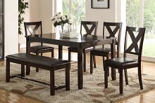 Poundex F2297 6 pc bridget ii espresso finish wood dining table set padded seat chairs and bench