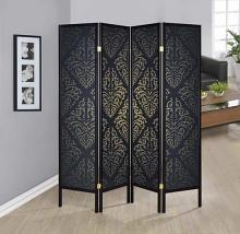 4 panel black finish wood frame shoji screen room divider with damask pattern print