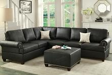 Poundex F7769 2 pc kathryn collection black bonded leather upholstered reversible sectional sofa with nail head trim