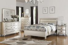 5 pc patricia iii collection silvery tone wood finish with upholstered headboard queen bedroom set