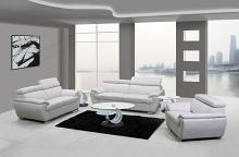 Global United 4571WH-2PC 2 pc Sheila modern style white genuine leather sofa and love seat set