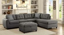 500413 2 pc stonenesse steel grey linen like fabric reversible sectional sofa set