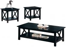 3 pc espresso finish wood coffee and end table set with cross design legs