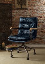Acme 92417 Harith vintage blue top grain leather office chair with casters