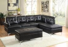 Home Elegance 8378BLK-2pc 2 pc barrington black vinyl sectional sofa set chrome modern legs