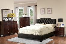 Poundex F9331Q 5 pc proctor collection black faux leather upholstered and tufted queen bedroom set