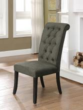 CM3564GY-SC Set of 2 Marshall gray linen like fabric antique black finish wood side chairs