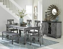 6 pc Fulbright collection country weathered gray rub through finish wood dining table set with bench
