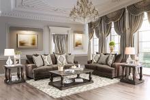 SM3075 2 pc Pauline dark brown chenille fabric sofa and love seat set