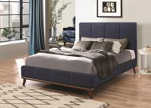300626Q Charity collection blue woven fabric tufted and upholstery queen size bed set