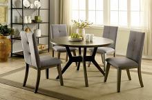 "CM3354GY-RT 5 pc abelone mid century modern style gray finish wood 48"" round dining table set"