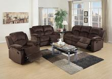 Poundex F6711-12 2 pc samantha chocolate padded suede fabric sofa and love seat set with reclining ends