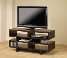 700720 Latitude run aburizik modern style espresso finish wood step style shelves tv stand console
