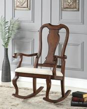 Sheim collection cherry finish wood and beige fabric upholstered queen anne style rocking chair