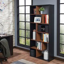 Acme 92358 Mercury row chrysanthos mileta II black and walnut finish wood multi tier book case shelf unit