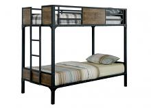 Furniture of america CM-BK029TT Clapton collection black finish metal frame industrial inspired style twin over twin bunk bed set