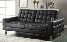 300294 Dark brown leatherette upholstered folding sofa / futon bed with tufted accents