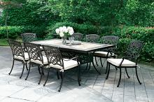 9 pc charissa collection antique black metal frame and tile top patio table and chairs