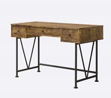 Barritt collection antique nutmeg finish wood with black metal frame writing desk with drawers