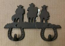 Cast iron cowboys on horses double hook wall hanger
