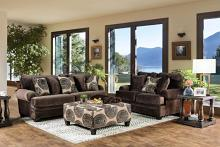 SM5142BR 2 pc Bonaventura brown plush microfiber sofa and love seat set