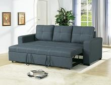 Poundex F6532 2 pc Latitude run clauderson blue grey linen like fabric sofa set pull out sleep area