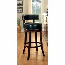 Set of 2 shirley collection black faux leather and dark oak finish wood bar stools