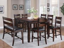 2760T-5454 8 pc Gracie oaks maldives brown finish wood counter height dining table set