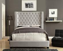 Mirabelle collection ivory fabric upholstered and tufted tall queen headboard bed frame set