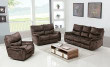 2 pc Reston collection brown fabric upholstered sofa and love seat with recliner ends