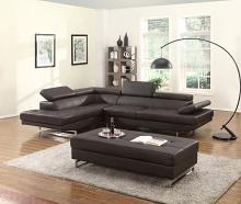 Global United 8136BR-2PC-A 2 pc Nova II brown leather gel upholstered sectional sofa with adjustable headrests and arm with chrome legs