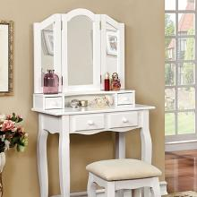 3 pc janelle collection transitional style white finish wood bedroom make up vanity sitting table set with tri fold mirror