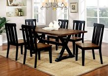 Furniture of america CM3668T 7 pc alana transitional style antique oak and black finish wood base dining table set with plank design
