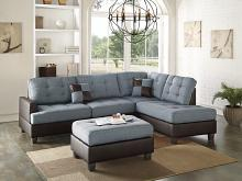 3 pc martinique ii collection two tone grey fabric and faux leather upholstered sectional sofa with reversible chaise and ottoman