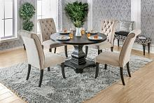 5 pc nerissa collection antique black finish wood transitional style round dining table set with tufted chairs