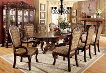 Furniture of america CM3557CH-T 7 pc medieve cherry finish wood elegant double pedestal dining table set